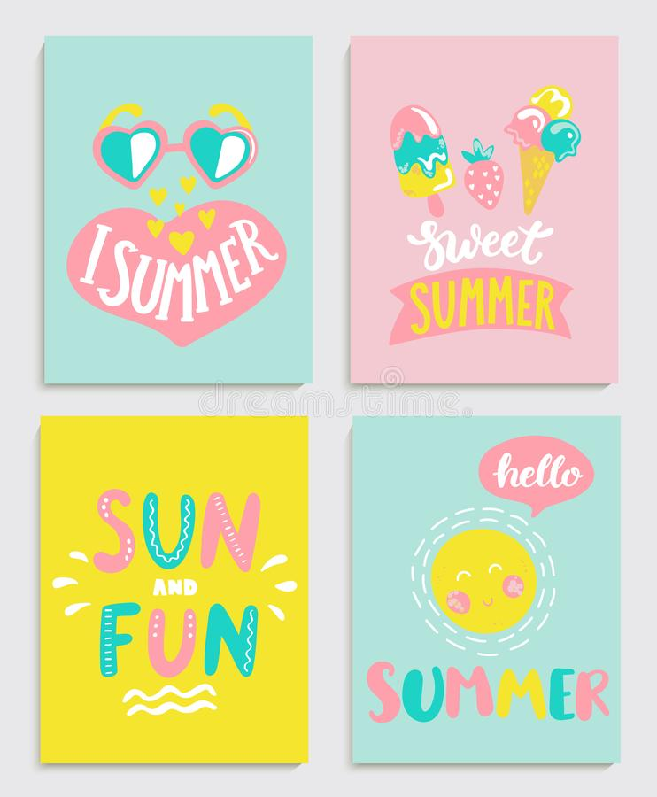 Piękny set jaskrawe lato karty ilustracja wektor