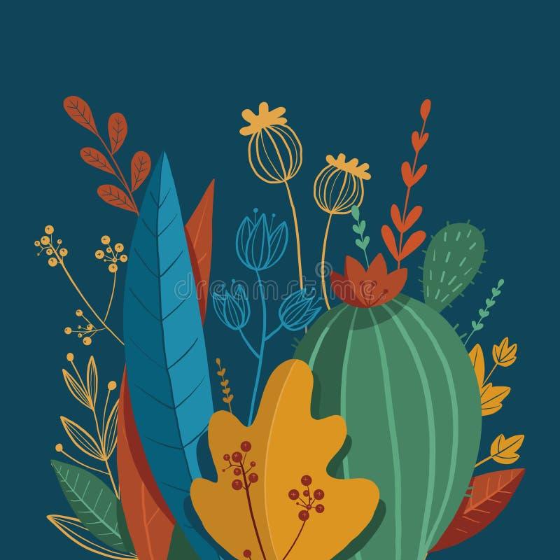 Piękny skład kolorowe rośliny Egzotyczni li?cie r?wnie? zwr?ci? corel ilustracji wektora royalty ilustracja