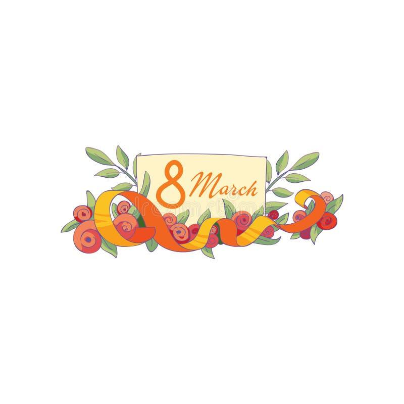 Piękny skład z tulipanów kwiatami, faborkiem i 8 Marcową pocztówką, Międzynarodowy kobiet s dzień 10 tło projekta eps techniki we ilustracji