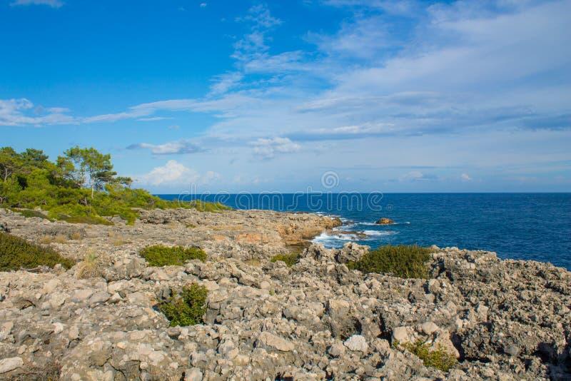 Piękny skalisty oceanu wybrzeże przy słonecznym dniem zdjęcie royalty free