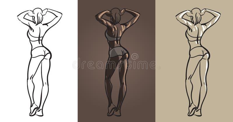 Piękny sprawności fizycznej dziewczyny plecy wektor ilustracja ilustracja wektor