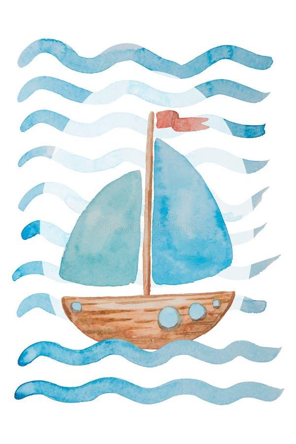 Piękny statek z ampułą żegluje na fala malować w akwareli a royalty ilustracja