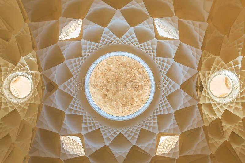 Piękny sufit Ameri Dziejowy dom, Iran fotografia royalty free