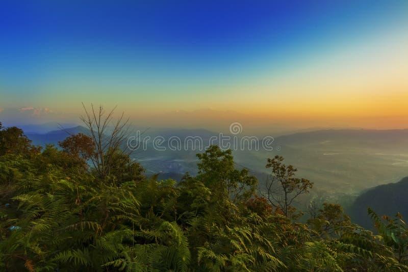 Piękny sunraise widok Bandipur widoku punkt zdjęcie stock