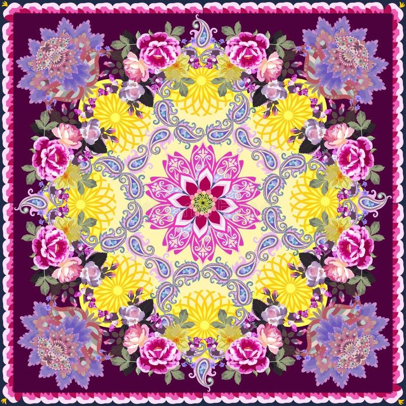 Piękny szal z mandalą, ozdobą paisley i bukietami kwiatów ogrodowych Druk latowy Motywy rosyjskie, indyjskie ilustracji