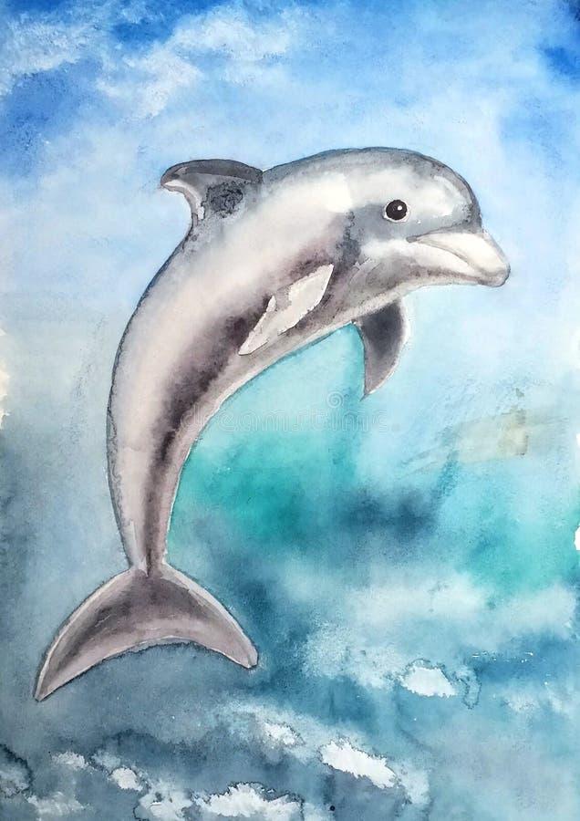 Piękny szary delfin z wdziękiem skacze out royalty ilustracja