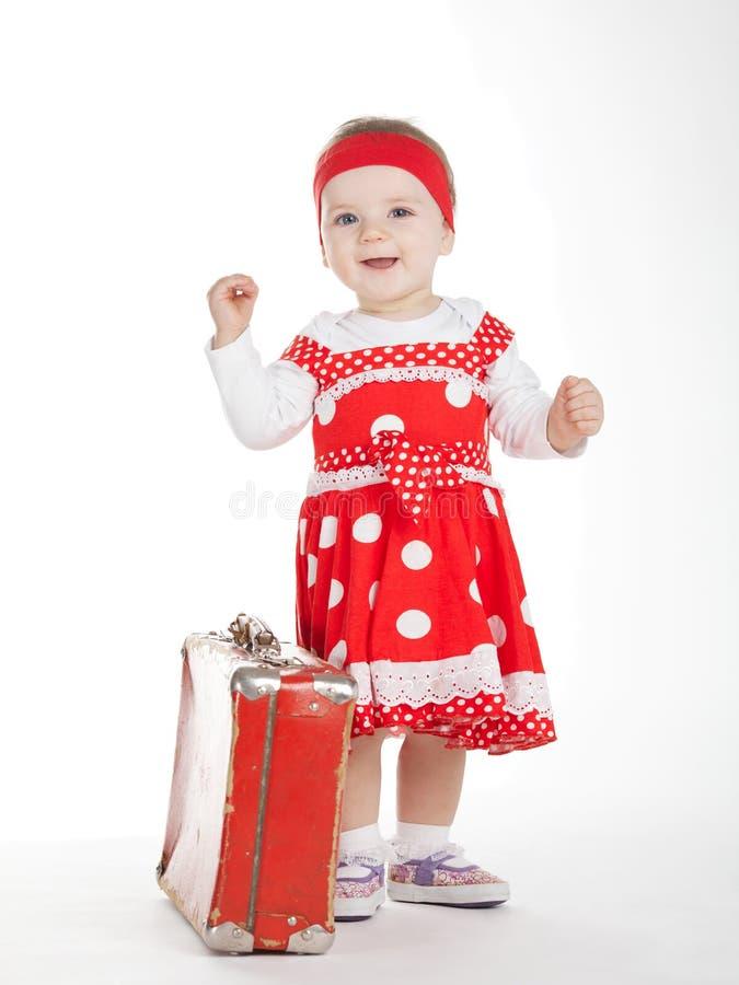 Piękny szczęśliwy dziecko na bielu zdjęcia royalty free
