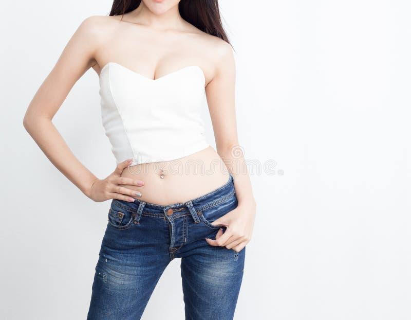 Piękny szczupły kobiety ciało zdjęcie stock