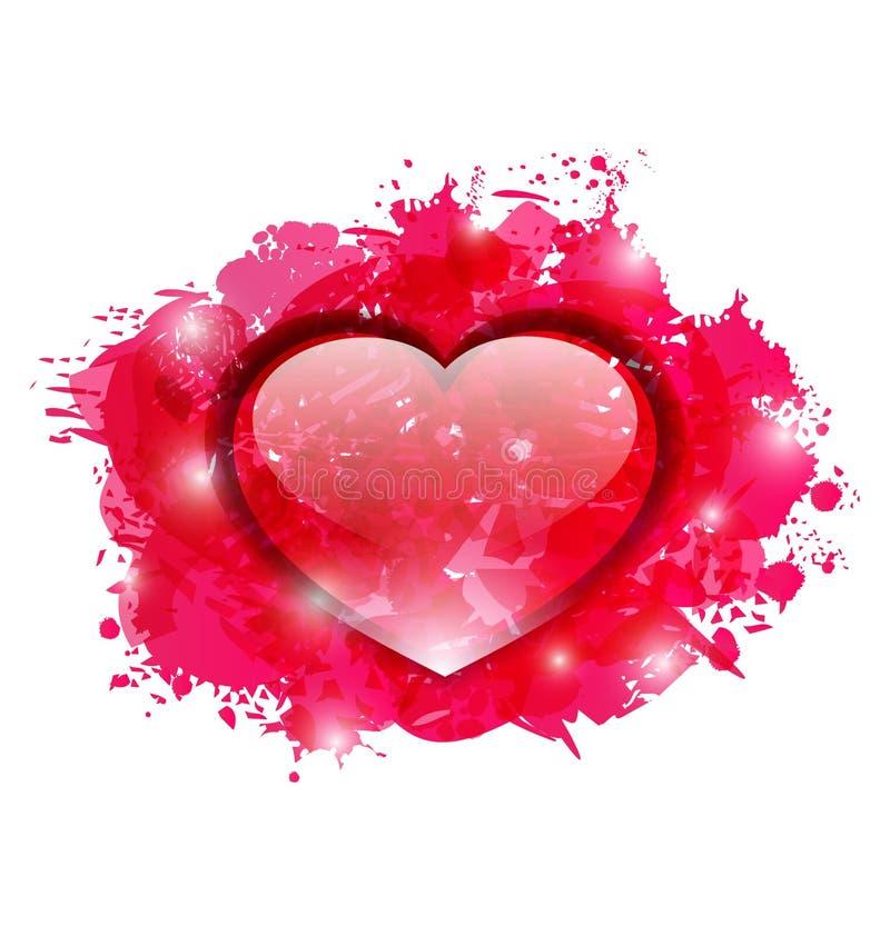 Piękny szklisty serce na grunge menchii kroplach dla walentynka dnia royalty ilustracja