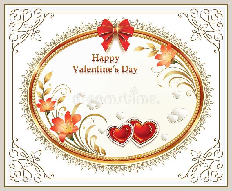 Piękny tło z sercami i leluje z czerwonym łękiem na walentynka dniu ilustracji