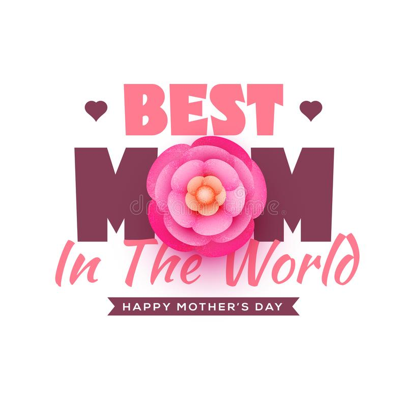 Piękny tekst, Najlepszy mama w świacie z menchiami kwitnie na bielu royalty ilustracja