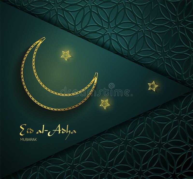 Piękny teksta projekt Eid Al Adha Mubarak na ciemnym tle Gwiazdy i księżyc dekorujący ornamentu tło ilustracji