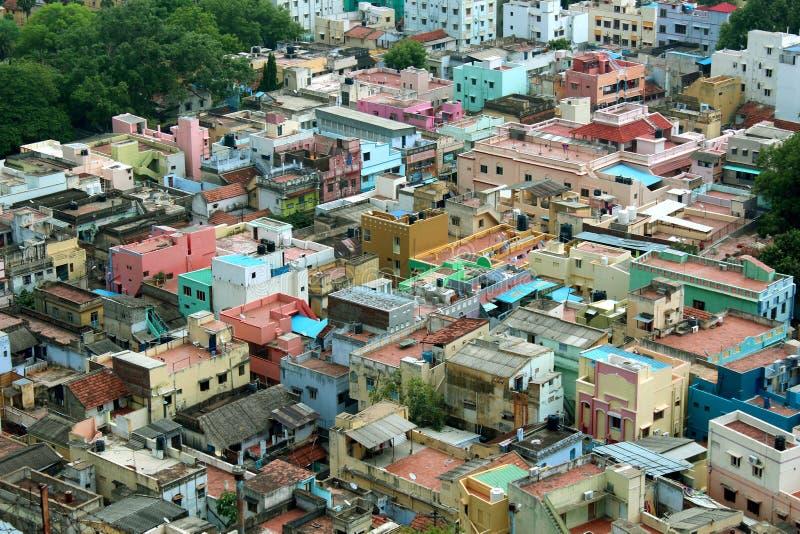 Piękny trichirappalli miasto mieści widok z lotu ptaka obraz royalty free