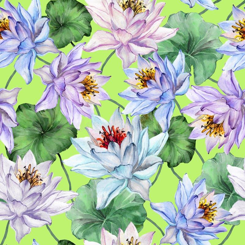 Piękny tropikalny bezszwowy wzór Wielcy lotosowi kwiaty z liśćmi i trzonami na jaskrawym - zielony tło szczotkarski węgiel drzewn ilustracja wektor