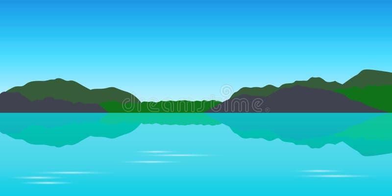 Piękny turkusowy jeziorny tekapo widoku górskiego krajobraz ilustracji