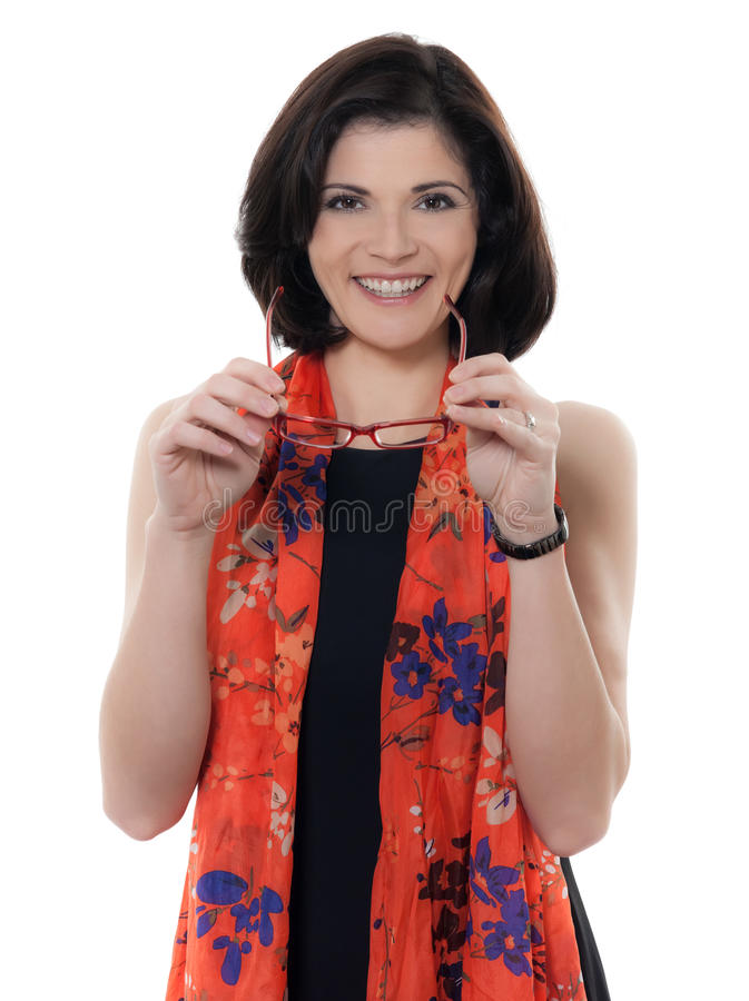 Piękny uśmiechnięty caucasian kobiet szkieł portret zdjęcia stock
