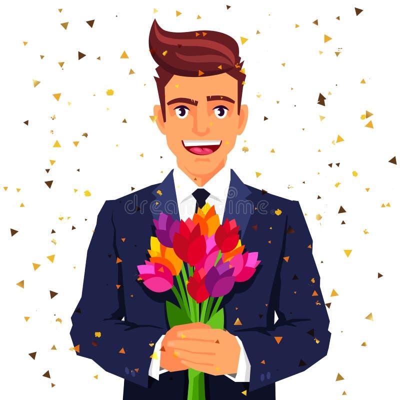 Piękny uśmiechnięty mężczyzna z bukietem kwiaty ilustracja wektor