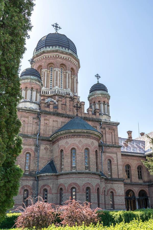 Piękny uniwersytecki kościół w Chernivtsi zdjęcie stock
