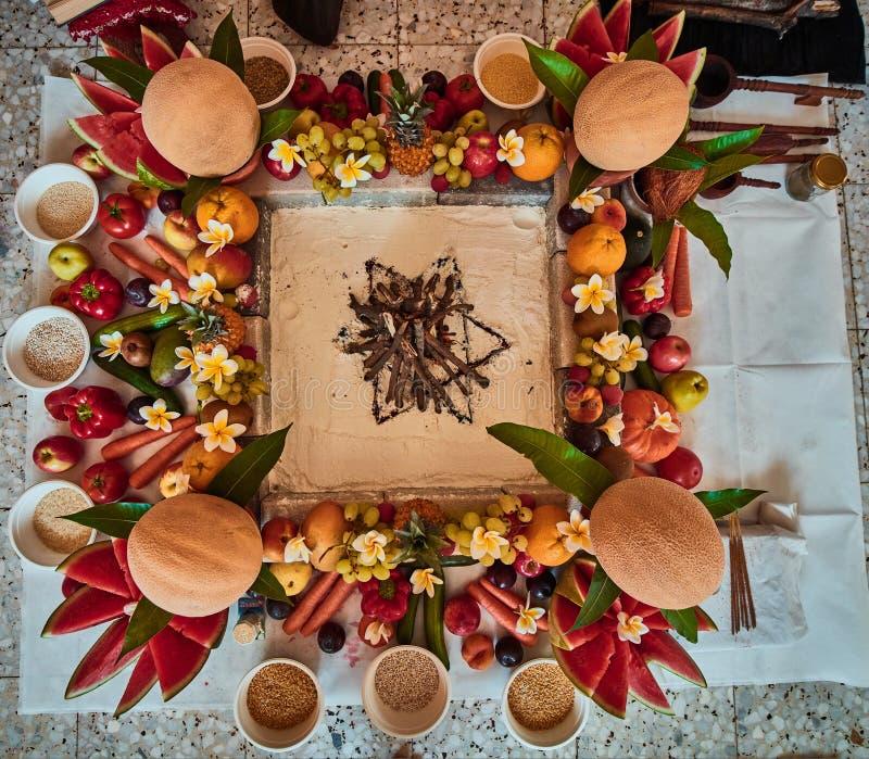 Piękny ustawiony miejsce dla Vedic ślubu zdjęcie stock