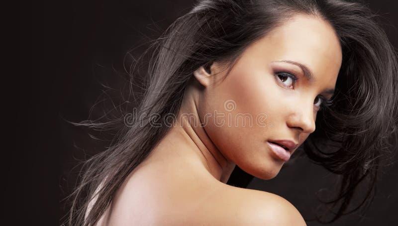 Piękny uzupełniał i włosy fotografia stock