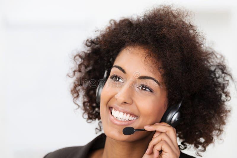 Piękny vivacious klient usługuje operatora obraz royalty free