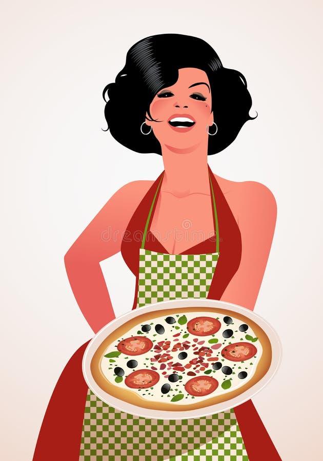 Piękny włoszczyzna kucharz pokazuje talerza pomidor, oliwki i serowa pizza, royalty ilustracja