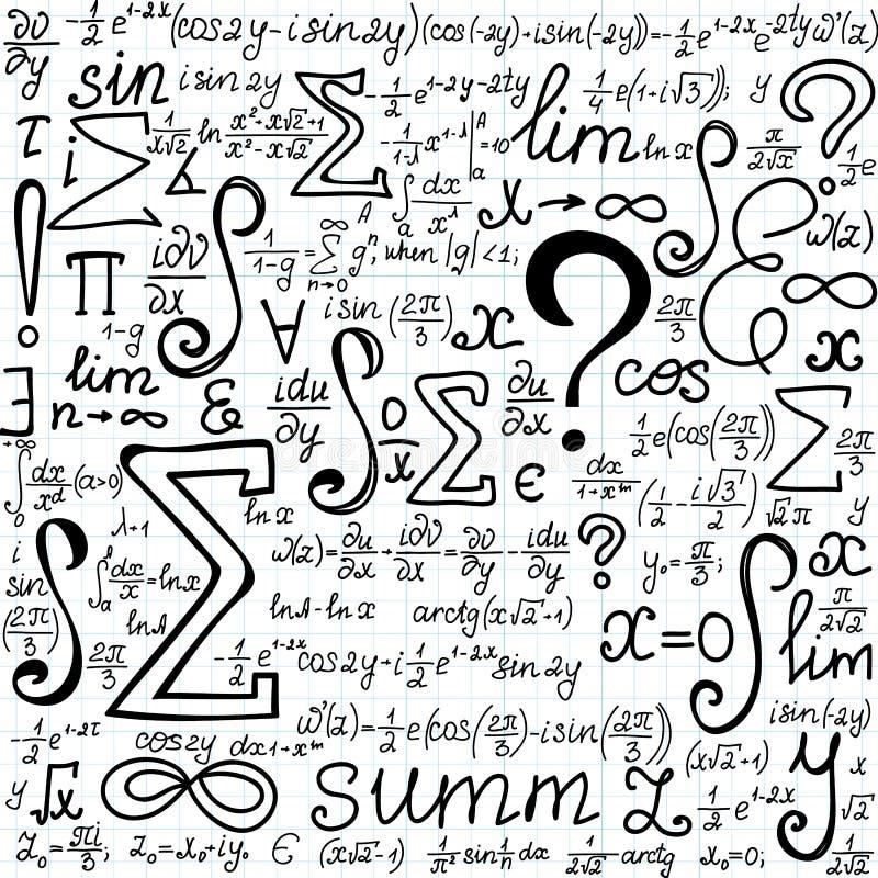 Piękny wektorowy bezszwowy wzór z matematycznie postaciami formuły i symbole ręcznie pisany na copybook papierze, ilustracji