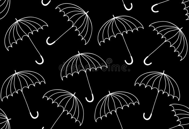 Piękny wektorowy czarny i biały bezszwowy wzór z parasolami ilustracja wektor