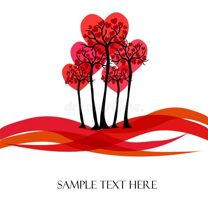 Piękny wektorowy drzewo z sercami royalty ilustracja