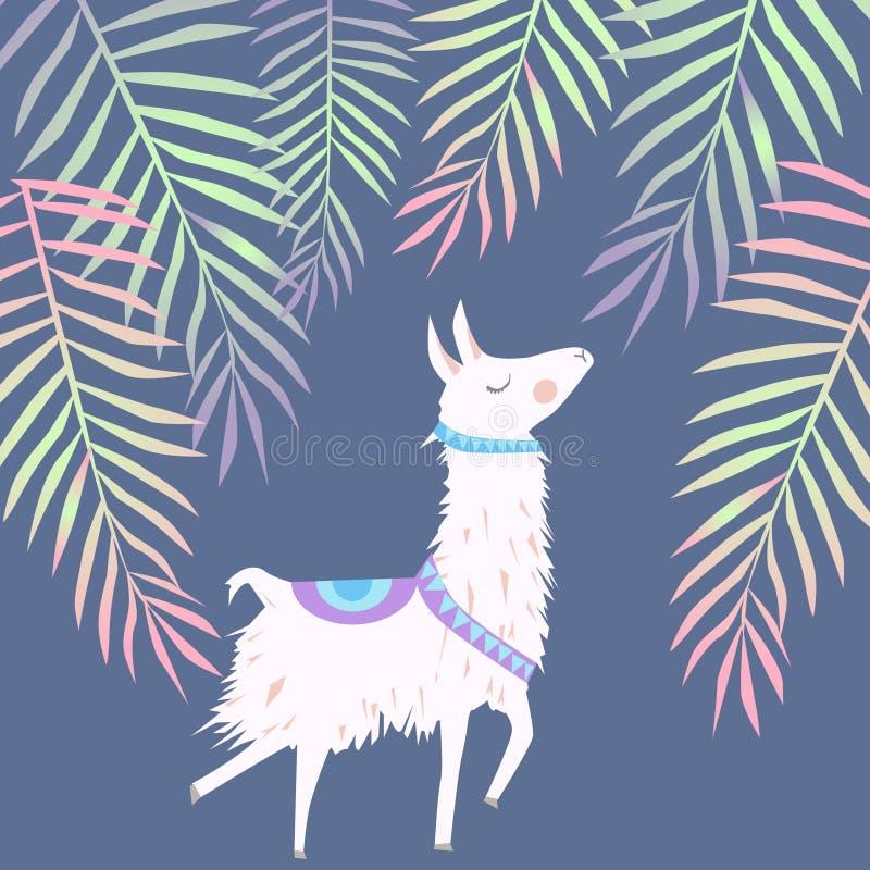 Piękny wektorowy kwiecisty lato wzoru tło z alpagą ja ilustracja wektor