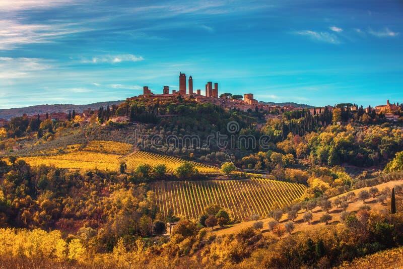 Piękny widok średniowieczny miasteczko San Gimignano, Tuscany, I fotografia royalty free