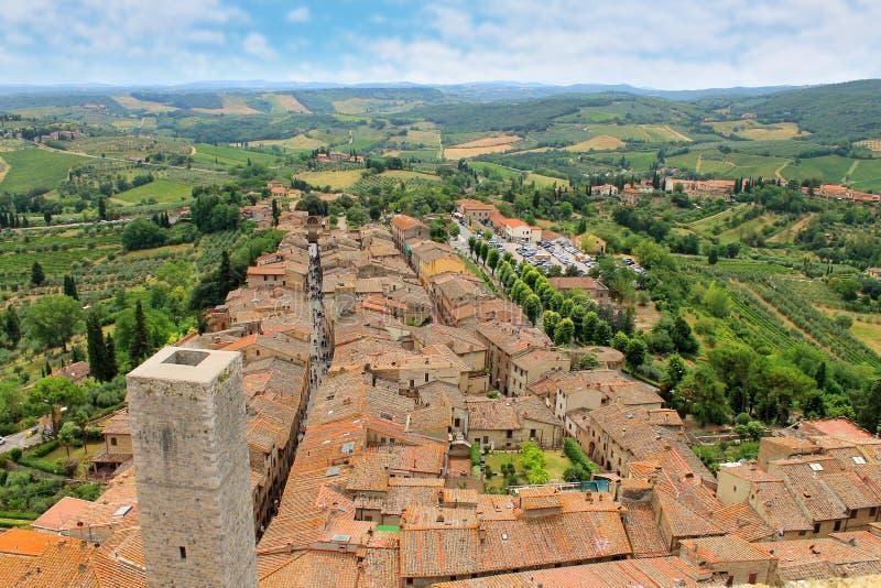Piękny widok średniowieczny miasteczko San Gimignano, Tuscany, I zdjęcia royalty free