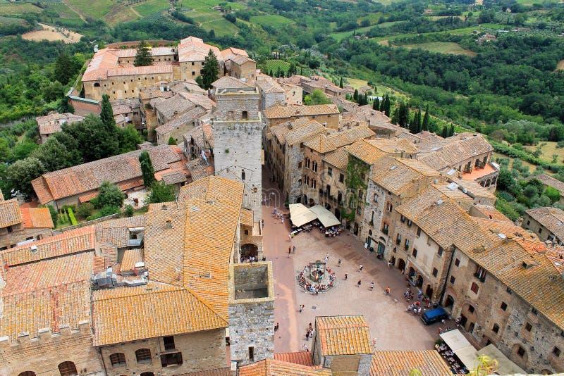 Piękny widok średniowieczny miasteczko San Gimignano, Tuscany, I zdjęcia stock