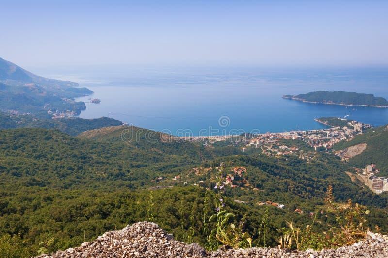 Piękny widok Adriatycki wybrzeże od gór Montenegro fotografia stock