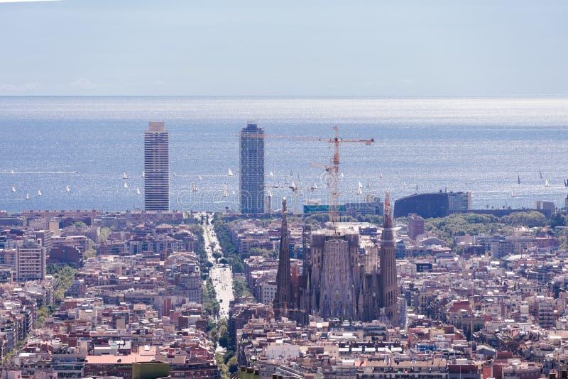 Piękny widok Barcelona ` s kwadrata ćwiartki z sławną katedrą jako odgórny punkt fotografia royalty free