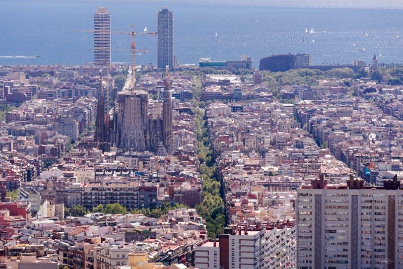 Piękny widok Barcelona ` s kwadrata ćwiartki z sławną katedrą jako odgórny punkt obrazy royalty free