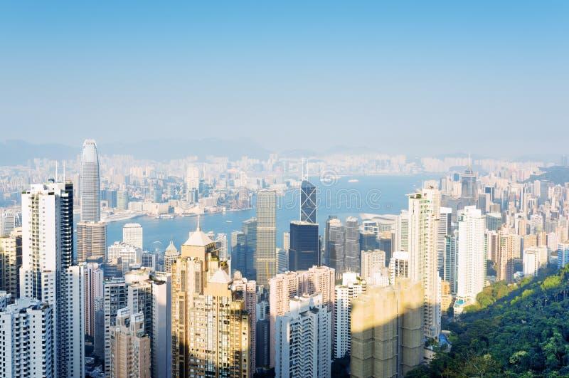 Piękny widok centrum biznesu Hong Kong miasto obraz stock