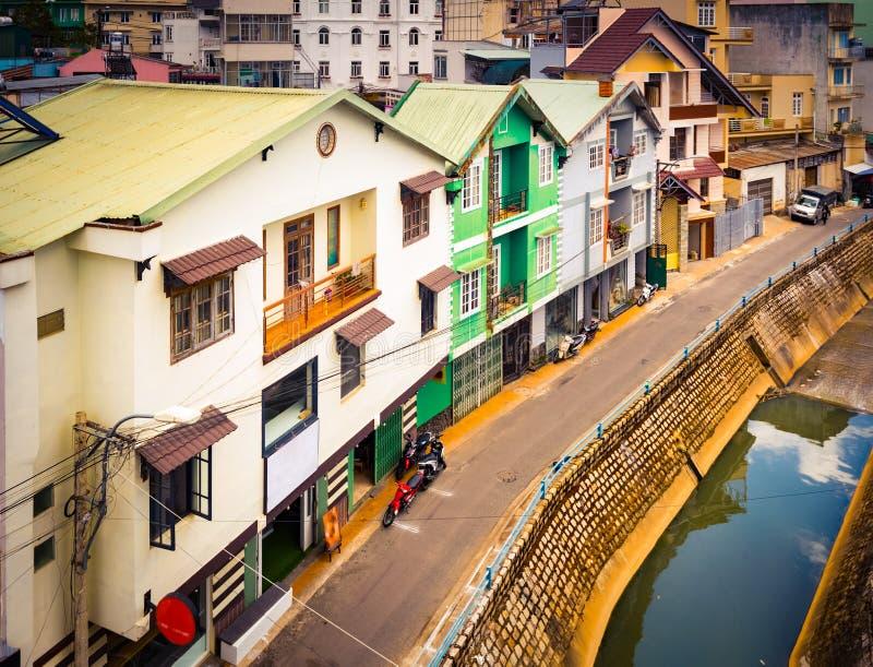 Piękny widok Dalat, Wietnam Panoramiczny pejzaż miejski Da Lat miasto, mały Paryż Wietnam obrazy royalty free