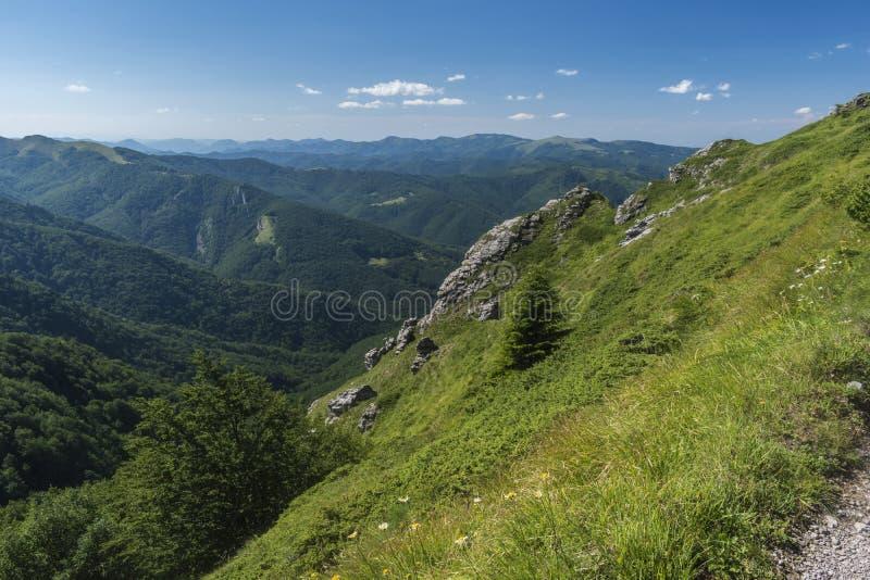 Piękny widok górski od wejść na ścieżce Kozya Stena buda Troyan Bałkański jest wyjątkowo malowniczy i zdjęcia royalty free