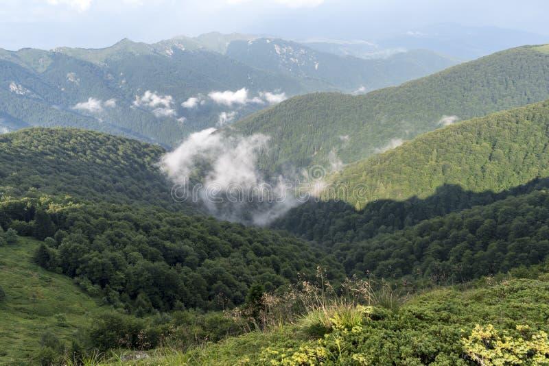 Piękny widok górski od wzgórzy na ścieżce Eho buda Troyan Bałkański jest wyjątkowo malowniczy obraz stock