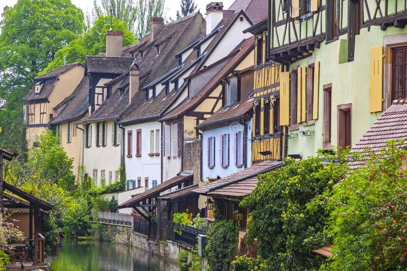 Piękny widok historyczny miasteczko Colmar, Alsace region, Francja zdjęcia stock