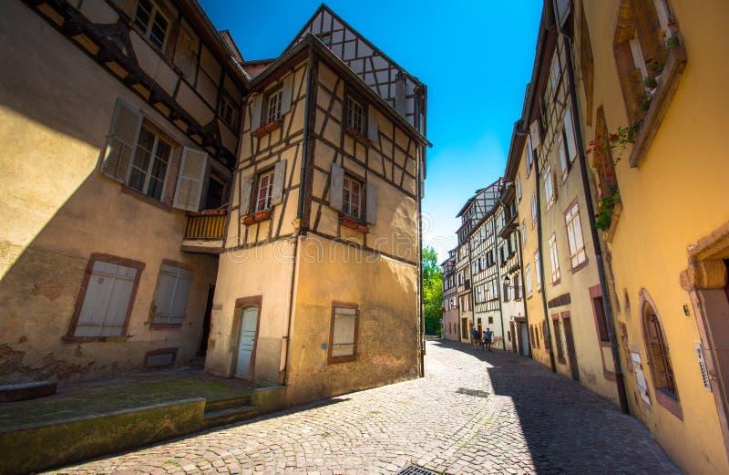 Piękny widok historyczny miasteczko Colmar, Francja obraz royalty free