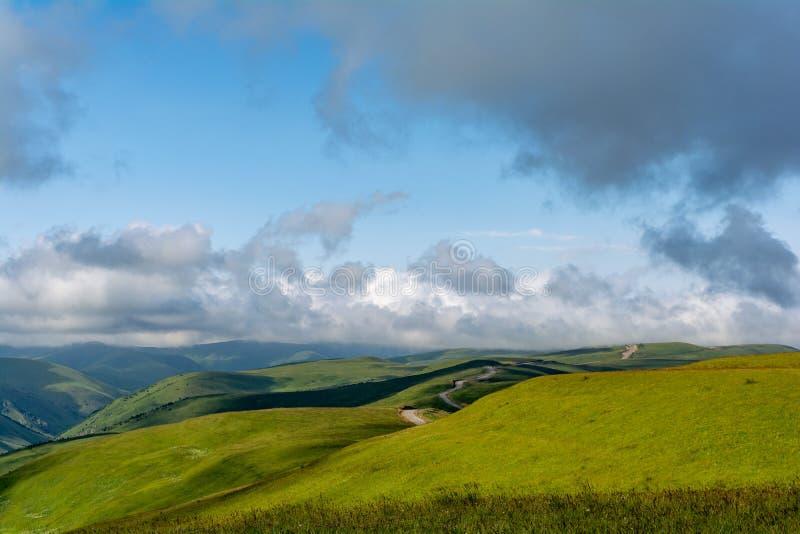 Piękny widok idylliczna wysokogórska halna sceneria z kwitnącymi łąkami i górami na pięknym słonecznym dniu z niebieskim niebem i zdjęcie royalty free