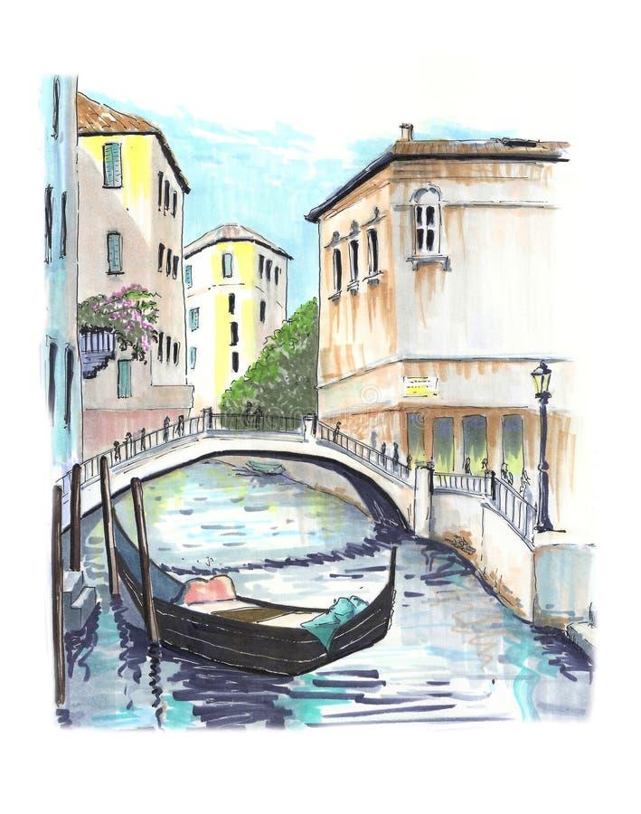 Piękny widok jeden venetian kanały royalty ilustracja