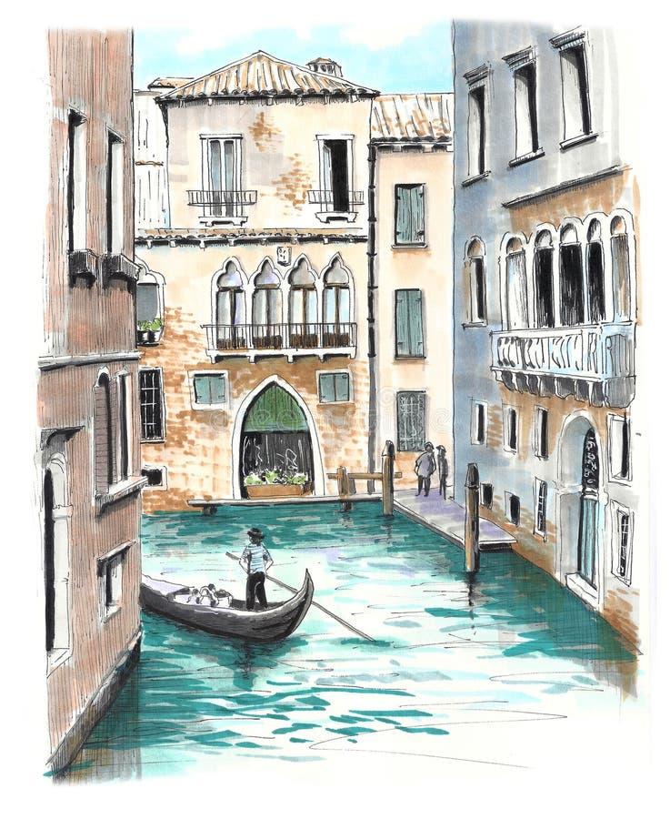 Piękny widok jeden venetian kanały obraz royalty free