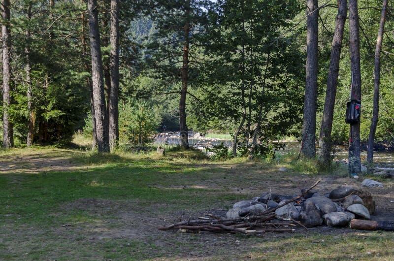 Piękny widok jesienny las Iskar w Rila górze i rzeka obrazy royalty free
