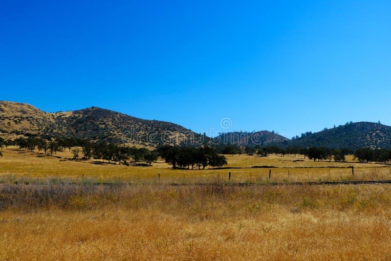 Piękny widok kalifornijczyk góry na słonecznym dniu i pola zdjęcia stock