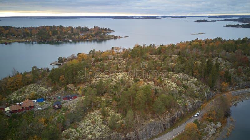 Piękny widok klasyczni szwedzi kształtuje teren z góry obrazy royalty free