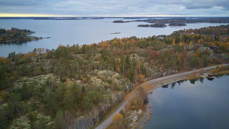 Piękny widok klasyczni szwedzi kształtuje teren z góry obraz royalty free