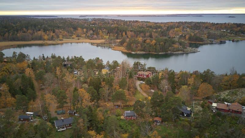 Piękny widok klasyczni szwedzi kształtuje teren z góry zdjęcia royalty free